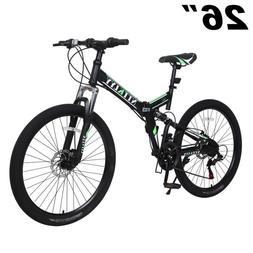 "26"" Folding Mountain Bike Shimano 21Speed Bicycle Front susp"