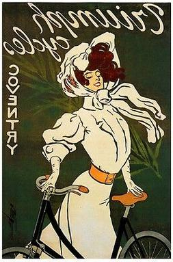 6480.Triumph cycles.coventry.woman with bicycle..POSTER.Hous