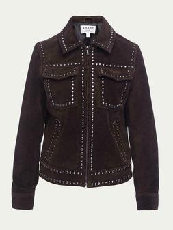 $995 FRAME Women's Leather Jacket XS Chocolate Brown Suede S