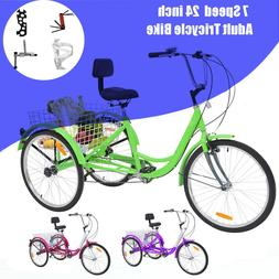 Adult Tricycles 7 Speed Trikes 24/26 inch 3 Wheel Bikes for