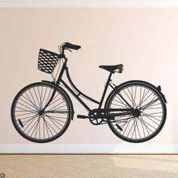 Cruiser Bike Wall Decal Women's Bicycle with Basket home dec