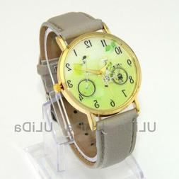 Fashion Green Fresh Numerals Dial Bicycle Leather Bike Women